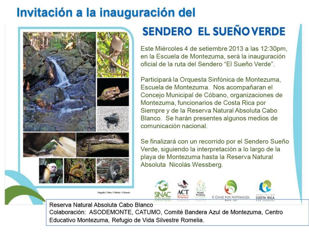 Invitación a Inauguración del Sendero El Sueño Verde